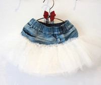 Wholesale 2014 New Korean Fashion Girls Wild Child Tutu Skirts Denim Children s Clothing Kids ALL Match Lace Gauze Tulle Skirt White J1003