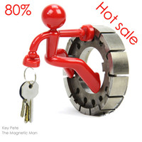 Wholesale Creative Mini Strong Magnetic Man Key Pete Wall Climbing Boy Magnet Holder Rack Hook Refrigerator Sticker Colors Free DHL Factory Price