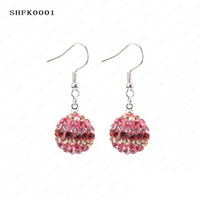 Wholesale Christmas Gift Hot Sale mm AB Clay Circle Crystals Ball Fashion Shamballa Earrings Mix Colors Options SHFKmix1