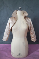 apricot pictures - 2014 New Style Real Picture Long Sleeves Satin High Neck Wedding Jacket Wedding Wrap DH7626