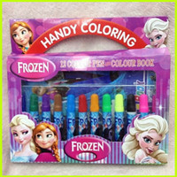 Wholesale 2014 Frozen Baby Suits Watercolor Pen P Colouring pictures P Color Stickers Kids Holiday Gift Children Puzzle Painting GZ GD
