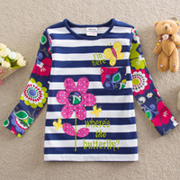 Wholesale nova high quality childrens clothes sale christmas baby gifts girls long sleeve shirts t shirts flower embroidery striped floral tops F4466