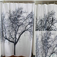 Wholesale EW Big Black Scenery Tree Design Bathroom Waterproof Fabric Bath Shower Curtain