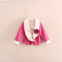 Wholesale 2014 Faux Leather Turn Down Collar Jackets Kids girl fashion Fall blazer D flower outwear