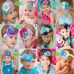 Wholesale Mixed Frozen Hairbow Flower Headband Boutique Hari Bow Shabby Chic Headband with Cartoon Glass Dome Baby Girl Hair Accessories