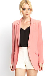 Wholesale Women Jacket Polyester Color Coral Turn Down Collar Long Sleeve Pocket Decoration Single Button Fashion New Jacket