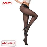 Wholesale LANGSHA LANSWE Lady Sexy Sheer Silk Hose Pantyhose Low waist T crotch Tights D Fashion Women Stockings LANGSHA
