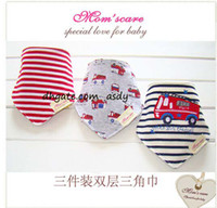 Wholesale Cotton Bibs Toddler Reversible Bandit Bandana Dribble Baby Car Triangular Bibs Button Newborn Baby Y sets