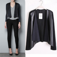 Wholesale 2014 Fall Winter Black PU Leather Woman Coat Cardigans Long Sleeve Knit Back Leisure Jacket Outer S M L SXD0801
