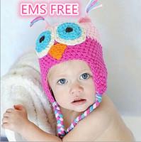 Unisex Winter Crochet Hats EMS FREE Toddler kids Owl Crochet Knit Woolly EarFlap Hat Babies Handmade caps childrens handmade owl hat 50+models For Choose 0-2T J073001#