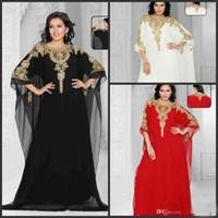 Reference Images Crew Chiffon Wholesale - 2014 New arrival Arabic ABAYA KAFTAN Chiffon Beaded Evening dress Dubai Prom dresses