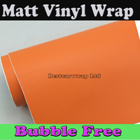auto vinyl matt - Matte Orange Vinyl Wrap Film for Car Full Body Vehicle Decoration Wrapping Cars Stickers Auto Sticker Matt orange m Roll x98ft