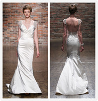 Wholesale 2015 Backless Cap Sleeve V Neck Pleated Summer Beach Out Door Granceful Charmeuse Ivory Sheath Wedding Dresses Crystals Beads Sweep train