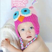 Unisex Winter Crochet Hats ALL FREE Toddler kids Owl Crochet Knit Woolly EarFlap Hat Babies Handmade caps childrens handmade owl hat 50+models For Choose 0-2T J073001#