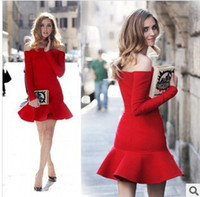 Casual Dresses Street Style Autumn Red Long Sleeve Winter Fashion Dresses Off the Shoulder Bodycon Peplum Mermaid Casual Dress 2014 Vestido Saia