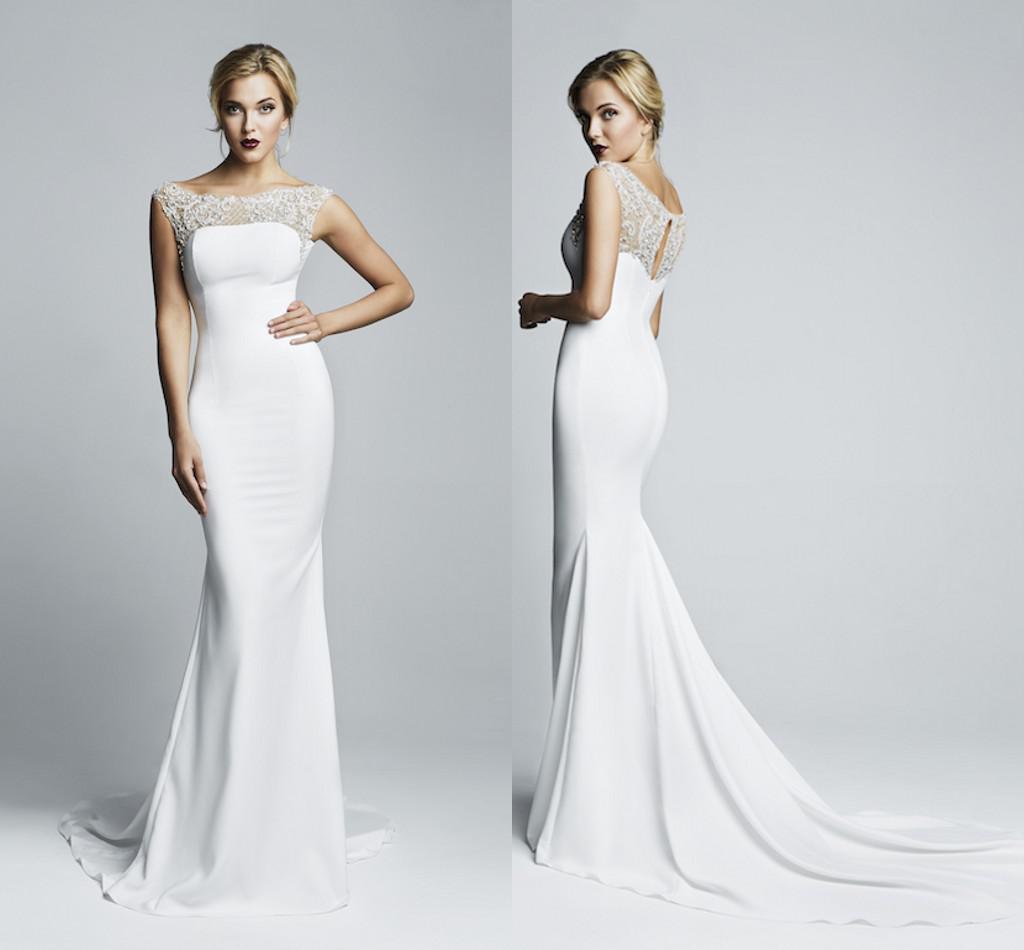 Simple Elegant 2014 Mermaid Wedding Dresses Sheer Lace Scoop And Back Sweep Train Bridal Gowns
