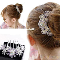 Other Women's Headwear Full Colors Crystal Rhinestone Petal Tuck Comb Women Flower Hair Pin Hair Clip Headwear Accessories