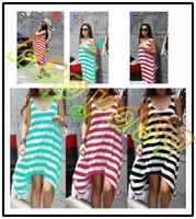 Casual Dresses Midi Dresses Summer fashion summer woman stripe beach dress holiday dress beach skirt lady dress swim bikini blouse casual skirt