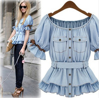 Scoop Neck Lantern Sleeve Short Sleeve 2014 Faux Denim Shirt Women Butterfly Sashes Blouse Summer Soft Cotton Women Clothes Sale Ruffle Tops Female European Style