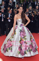 Reference Images Strapless Satin 2014 Sonam Kapoor Nice Dress in Cannes Film Festival Evening Dresses Zipper Back and Print Flowers Satin Ankle Length Celebrity Gowns BO3084