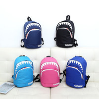 Wholesale 5 Colors Cartoon Shark Shoulders Backpacks Canvas Kindergarten Schoolbags