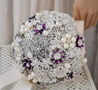Bouquet Luxurious  2014 Newest Bridal Bouquet Handmade Rose Pearls And Diamonds Bride Holding Flowers Purple Beads Real Image Wedding Bouquet Free Shipping