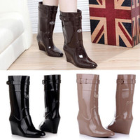 Wholesale salebags Fashion Women PVC rain boots Korean non slip pointed toe overshoes high heel wedges Knight booties water shoes XP0001