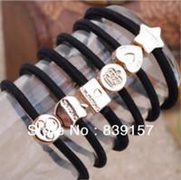 Wholesale 100pieces Elastic hair bands accessory rope headband brief black color designs