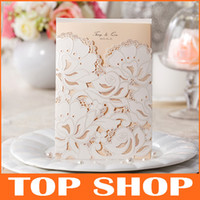 Wholesale Lace Hollow Wedding Invitations Free Customize Flower Patterns Invitation Cards Laser Cut Elegant Wedding Card HQ1037