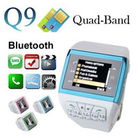 Wholesale 12PCS Dual SIM Stanby Watch Mobile Phone Q9 Unlocked Cellphone GSM with Keypad Touch Screen Spy Camera Smart Bluetooth Wristwatch Hands free