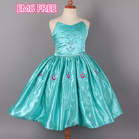TuTu Summer A-Line EMS FREE 2014 NEW Frozen girls cartoon elsa anna tube dresses children babies tube top with flower embroidery kids chest wrap dress J073002#