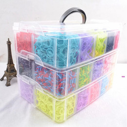 Wholesale Rainbow loom bands kit clear big plastic box for Kids DIY Bracelets bands chips charms hooks boards floor PVC box Y
