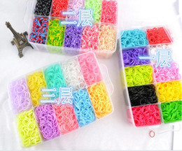 Wholesale Rainbow loom bands kit clear big plastic box for Kids DIY Bracelets bands chips charms hooks boards floor box Y
