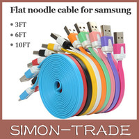 Wholesale Colorful Micro V8 USB Sync Data Flat Noodle Charger Charging Cable Cord For Samsung Galaxy S3 Note HTC Android Phone M M M