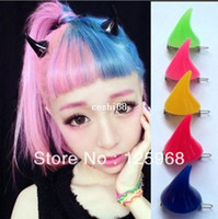 Headwear Yes Solid Free Shipping!2013 New Stylish Novelty Wholesale Halloween Gifts DEVIL Horns Hair Slides Clip Mutli Colors Hair Accessories