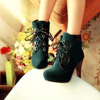 Ankle Boots Knight Boots Women Fashion lace up women boots shoes woman autumn ankle boots high heels 2014