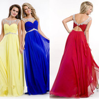 Wholesale 2015 In Stock Prom Dresses Sheer Scoop Neck Crystals Beaded Open Back Chiffon Floor Length Evening Homecoming Gowns CPS073