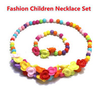 Bracelet & Necklace Children's Gift Chinden Jewelry Setr WOOD BEADS Necklace set with Bracelet