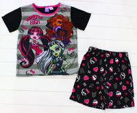 Girl Spring / Autumn Short 14 summer new fashion baby clothes suit 6-12T girl-kids t-shirts+pants 8sets lot cotton kids clothing baby clothes flower kids pajamas