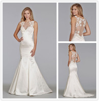 Wholesale 2015 Sheer French Lace Illusion Back Sleeveless Crew A Line Ivory Satin Summer Beach Out Door Wedding Dresses Grace Sweep Train