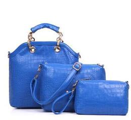Wholesale New Fashion Women s Handbag bag Purses PU Leather fashion Shoulder Bags Girls Crocodile pattern Three piece Messenger Bag Buy get blue