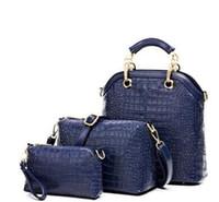 Wholesale New Fashion Women s Handbag bag Purses PU Leather fashion Shoulder Bags Girls Crocodile pattern Three piece Messenger Bag set bag navy