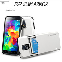 Wholesale SGP Slim Armor CS Card Slider for Galaxy S5 i9600 Dual Layer Protective Gliding Style Cell Phone Cases with Retail box