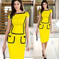 Wholesale 2015 Summer Cotton Women s Pencil Dress Plus Size Elegant Button Bodycon Short Sleeve Plus Size Package Hip Party Dresses
