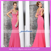 Cheap Reference Images backless pink dress Best V-Neck Elastic Satin water red evening dress