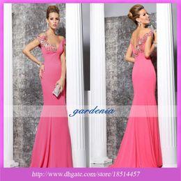 Wholesale 2014 Tarik Ediz Off Shoulder Mermaid Style Prom Dresses Sexy Applique Beaded Watermelon Floor Length Party Gown Evening Dress Custom Made
