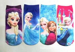Wholesale Mixed babies kids socks by dozen Children Frozen Princess Elsa Or Anna Cartoon Ankle Sock Socks
