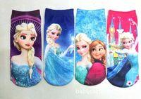 Wholesale Hot sale Mixed babies kids socks by dozen Children Frozen Princess Elsa Or Anna Cartoon Ankle Sock Socks