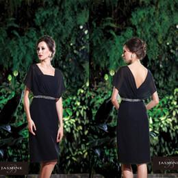 Charming Black V-neck SHort Chiffon Mother of the Bridesmaid Dresses Free Shippping Beads Sash Plus Size