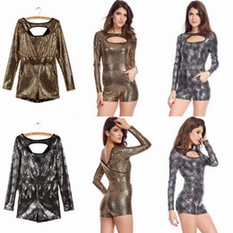 Wholesale Sexy Women Foiled Cutout Party Jumpsuit Fashion Lady Bodycon Bodysuit Rompers Colors Choose LC6444